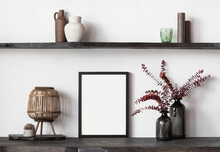 Blank Picture Frame Mockup On Whitewall. Artwork In Interior Design. View Of Modern Rustic Scandinavian Style Interior With Canvas For Painting Or Poster On Wall. Minimalism Concept
