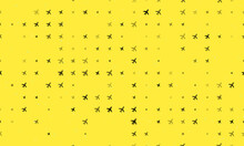 Seamless Background Pattern Of Evenly Spaced Black Plane Symbols Of Different Sizes And Opacity. Vector Illustration On Yellow Background With Stars