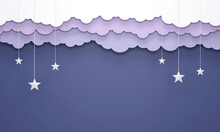 Paper Art Style, Hanging Clouds And Stars In The Blue Sky Design 3D.