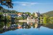 canvas print picture - Blick über den Stausee auf den historischen Ortskern Beyenburgs sowie die Klosterkirche St. Maria Magdalena; Bergisches Land; Deutschland