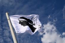Drapeau Corse Avec La Tête De Maure Flottant Dans Le Vent