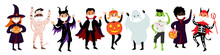 Halloween Set Of Kids In Costumes And Medical Protective Masks From COVID-19. Vector Diverse Cute And Funny Characters Dressed Up In Halloween Clothes - Mummy, Zombie, Witch, Ghost, Maleficent.