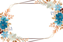 White Blue Floral Frame With Watercolor