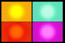 Pop Art Comic Background Explosion Of Lightning Halftone Dots. Cartoon Vector Illustration