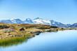 canvas print picture - Bergsee mit Wollgras und Blick zum Gletscher im Zillertal