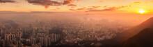 Hong Kong Cityscape Lit Up At Dawn.