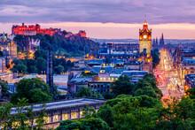 Edinburgh Skyline Lit Up At Dawn.