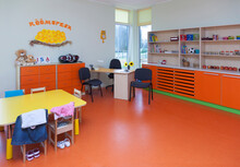 Modern Day Care Nursery Or Kindergarten School, Spacious Interiors, Lockers And Storage
