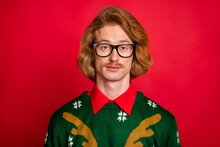 Photo Of Serious Confident Young Guy Dressed Print Pullover Glasses Isolated Red Color Background