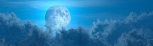 Backdrop - Panorama Of Large Cumulus Clouds And Moon . Conceptual Nature 3D Illustration