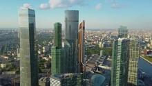 Several Futuristic Glass Skyscrapers