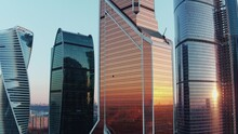 Office Skyscrapers In Moscow Business Centre At Sunset, Aerial View