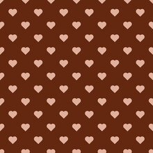 Peach Color Heart Seamless Pattern Vector Chocolate Brown Background.