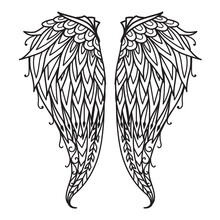 Mandala Angel Wings For Design Element, Engraving, Paper Cutting, Printing Or Coloring Book. Vector Illustration.