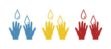 Hand Sanitizer Icon. Hands Wash Icon And Hands Logo. Vector Illustration