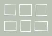 Vector Photo Frame Mockup Design. Super Set Photo Frame Isolated On Pastel Color Background. Vector Illustration