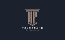 HP Initial Logo With Pillar Style, Luxury Law Firm Logo Design Ideas
