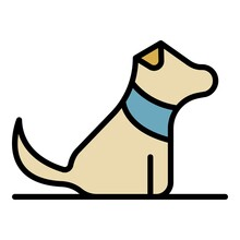 Home Puppy Dog Icon. Outline Home Puppy Dog Vector Icon Color Flat Isolated