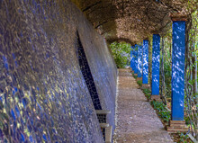 Corridor With A Vault Covered With Plants, And Walls Adorned With A Mosaic Of Blue Tiles.