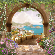 View Through The Arch With Flowers To The Sea