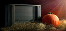 Pumpkin In A Wooden Crate On A Wooden Base