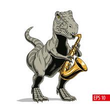 Tyrannosaurus Dinosaur Monster Playing Saxophone. Comic Style Vector Illustration.