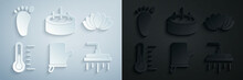 Set Sauna Mittens, Lotus Flower, Thermometer, Shower Head, Swimming Pool With Ladder And Foot Massage Icon. Vector