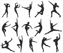 Ballet Dancers Vector Silhouettes. Shadows Of People, Outlines Of Dancing Men