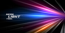 Speed Trail Neon Light Lines Motion Background