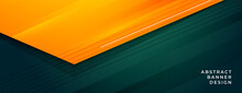 Stylish Green And Orange Abstract Banner Design