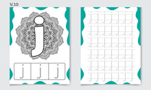 Alphabet Coloring Pages And Books For Kids. Letter J Vector Illustration.