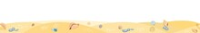 Frontal View Of The Seashore. Yellow Sandy Beach. Shellfish And Snail Shells. Close Up View. The Isolated Object On A White Background. Marine Illustration. Seamless Vector.