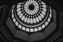 Architecture Of The Dome Of The Monument To The Revolution From The Inside In Mexico, Grayscale