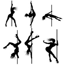 Pole Dance Women Dancers Svg Vector Illustration