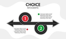 2 Options Choice, Left And Right Direction Arrows, Old And New Vector Concept With Road Line