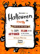 Halloween Party Invitation In Vector Frame With Silhouettes Of Bats, Cat, Jack O Lantern