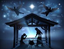 Christmas Nativity Scene Jesus Manger Silhouette