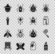 Set Spray Against Insects, Butterfly Net, Fireflies Bugs Jar, Mite, Spider, Larva, Beekeeper Hat And Beetle Icon. Vector
