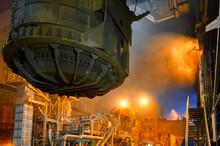 Scrap Metal Ladle Before Being Discharged Into Steelmaking Furnace