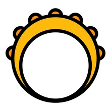 Band Tambourine Icon. Outline Band Tambourine Vector Icon Color Flat Isolated