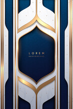 Abstract White Blue And Gold Luxury Frame Template