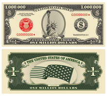 Fictional Obverse And Reverse Of US Paper Money. One Million Dollar Banknote. Statue Of Liberty, Stars-striped Flag And Guilloche Frames