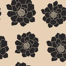 Seamless Pattern.Cartoon, Hand-drawn. Black Succulent Plant On A Light Background. Houseplants, Cactus, Succulent, Stone Rose. Vector Illustration.