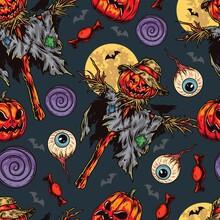 Halloween Night Colorful Seamless Pattern