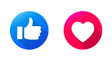 Heart Icon, Love Icon And Thumb Up Of Empathetic Emoji Reactions, Printed On Paper. Vector Social Media Illustration