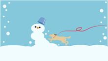 雪だるまへ飛びかかる犬