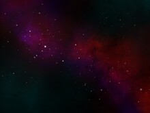 Lots Of Stars On The Galaxy And A Cloud Of Red Gas Smog.  Illustrations, Backgrounds Created By Tablets Can Be Used As Wallpapers Or Backgrounds.