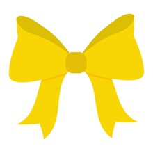 Decorative Yellow Bow. Bow For Postcards Decoration.