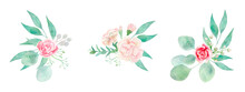Watercolor Isolated Floral Arrangements With Roses, Carnations And Eucalyptus. Romantic Set Of Bouquets With Gentle Pink Flowers And Greenery For Logo, Wedding, Cards, Prints And Textile.