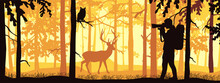 Photographer In Forest Take Picture Of Deer. Silhouette Of Tree, Man, Animal. Wild Nature Landscape. Horizontal Banner.